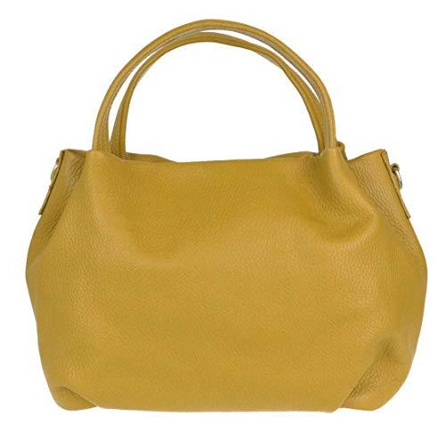 Girly Handbags cubo el bolso de cuero genuino - mostaza