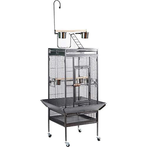 Jaula para ninfas Jaulas de pájaros para mascotas a gran escala para uso doméstico,Villa de pájaros de hierro forjado móvil al aire libre,Casa para pájaros Myna Parrot con cerradura ( Color : Black )