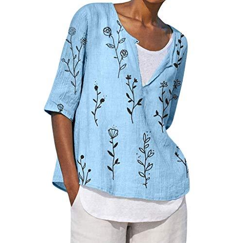 Vimoli Frauen Kurzarm T-Shirt Plus Size Frauen V-Ausschnitt Druck Mittelarm T-Shirts Easy Tops Blusen(Blau,3XL)