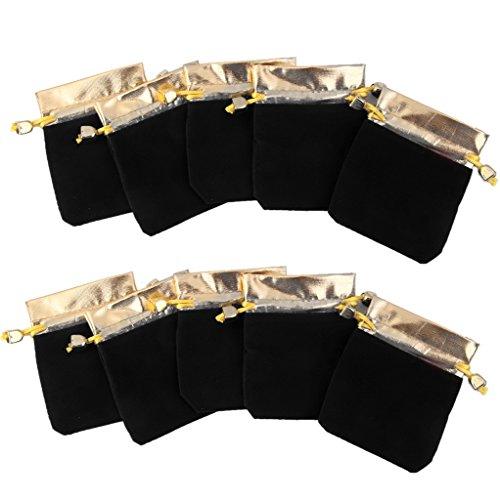 Souarts Noir Organza Sachets Cadeau Bijoux 7x9cm Lot de 25pcs