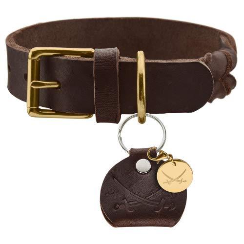 HUNTER SANSIBAR SOLID Hundehalsband, Leder, strapazierfähig, griffig, geflochten, 45 (S-M), dunkelbraun