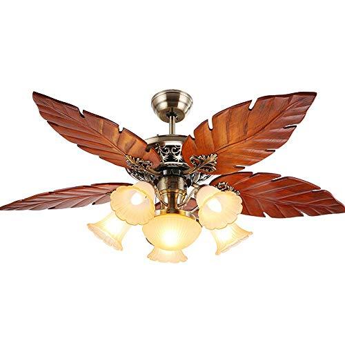 N / A Holzdeckenventilator Licht 5 Klingen 5 Lichter Holzpalmblatt-Fan-Licht-Lampe, Tropen Indoor Große Quiet Deckenventilator Kronleuchter, Startseite Isoliert Rustikal Deckenventilator.