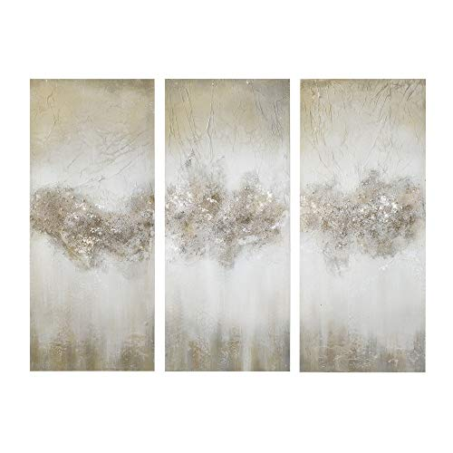 Madison Park Taupe Hand Brushed Embellishment Blue Luminous Wall Art-Canvas, 15' W x 35' H x 1. 5' D...