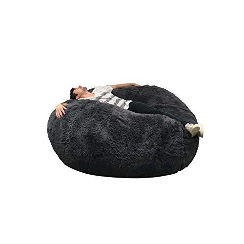 Puf Lerosier1234 gigante Immense 140 cm de diámetro de piel XXL blanco o gris o chocolate con espuma triturada ultra cómoda, sofá, doble fundas, pera, cojín ( Gris )
