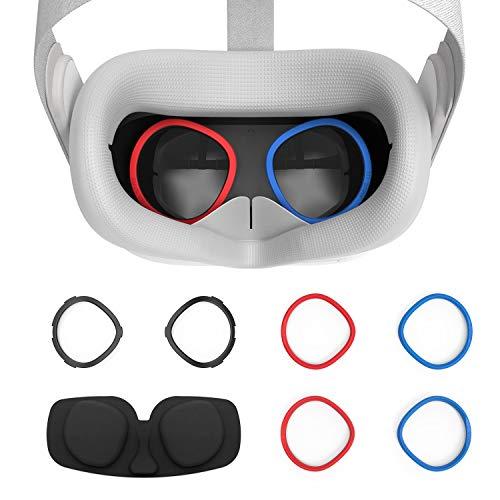 AMVR VR Silikon-Gesichtsabdeckung Und Linse Anti-Kratz-Ring Zum Schutz Der Myopie-Brille Vor Kratzenden VR-linsen Für Oculus Quest 2 Ersatz-3-in-1-Zubehör(Grau)