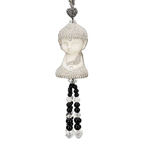 Sinymilk DIY Diamonds Ceramic Buddha Car Hanging Decor Ornament Rearview Mirror Beads Tassel Pendant