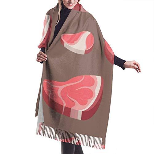 Patrón de comida de carne de cerdo de res, chal largo de moda para mujer, bufanda de cachemir con patrón de bicicleta de gato, bufanda grande cálida de invierno, caja de regalo