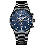CRRJU Mens Watches Luxury Casual Quartz Analog Black Stainless Steel Waterproof Chronograph Wrist Watches for Men