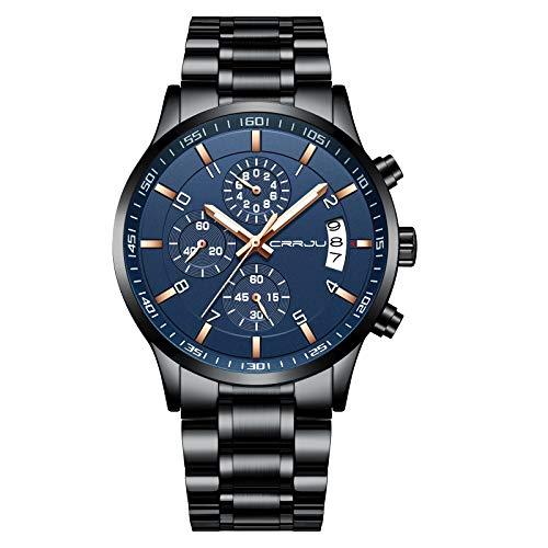 Relógio de pulso masculino CRRJU com cronógrafo multifuncional, pulseira de aço inoxidável à prova d'água, black rose