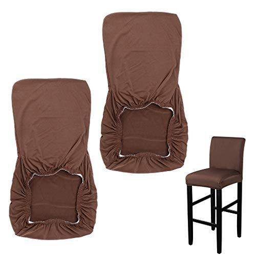 BSTKEY 2 Pack di coprisedie laterali elasticizzati altezza – coprisedie da bar e sgabelli da sedia antiscivolo protezione per sedile (caffè)