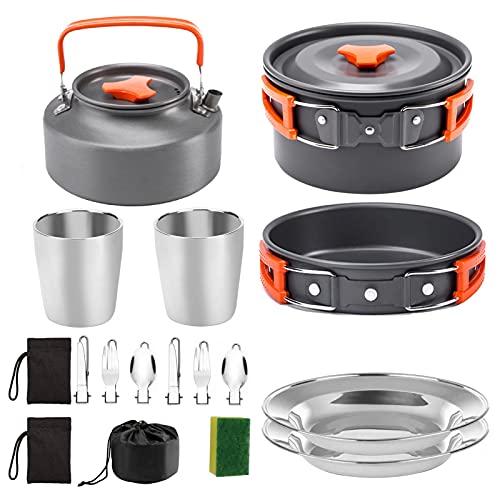 Camping Cookware Portable Pot Pot Cup Teapot Set Folding Outdoor Cookware Hiking Picnic Tableware Tool Travel Equipment (Color : Orange)