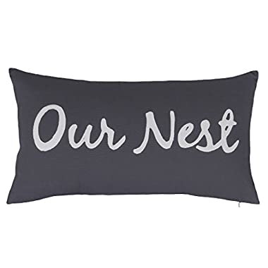 DecorHouzz Home Sentiment Pillow Cover Embroidered Pillow Cases Throw Pillow Decorative Pillow Wedding Birthday Anniversary Gift 14 x24  (Our Nest (Gray))