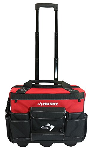 "Husky GP-43196N13 18"" 600-Denier Red Water Resistant Contractor's Rolling Tool Tote Bag with Telescoping Handle"