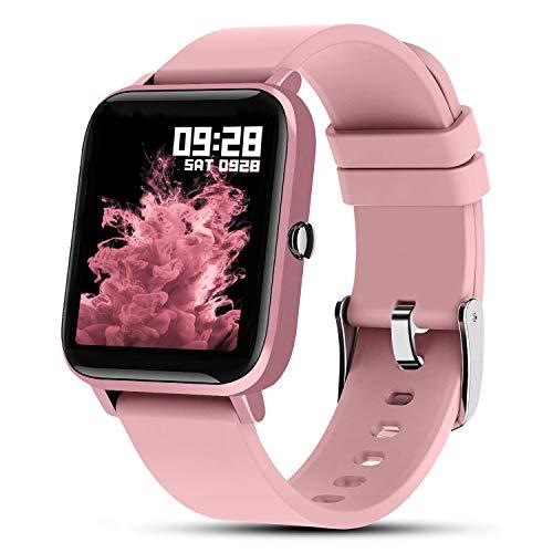 Fullmosa Smartwatch mit Herzfrequenzmessung,Sportuhren 7 Sportmodi mit Pulsmesser für Damen Frau,IP67wasserdicht,GPS, Fitness Armbanduhr mit Aktivitätstracker für iPhone Android,Pink
