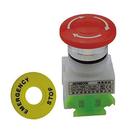 2 Stück 4 Pin Re Cap 1 NO 1 NC DPST Not-Stopp-Taste Schalter AC 660 V 10 A für Relais