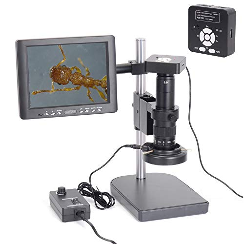 HAYEAR Full Set HD 16MP 1080P 60FPS 2K Digital Industrial Microscope Camera HDMI USB Outputs+180X C-Mount Lens+8' HD LCD Monitor + 60 LED Illumination Light Lamp