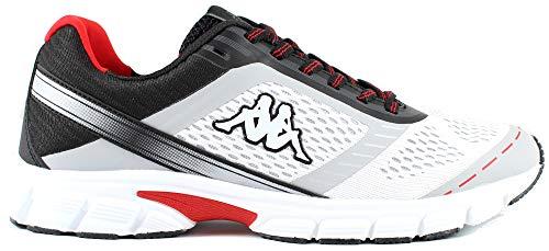 Kappa Scarpe Sportive Uomo Running Leggere comode Logo Visp (White Black, Numeric_42)