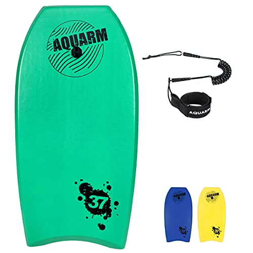 AQUARM Bodyboard with Wrist Leash, 33-inch/37-inch/42-inch Lightweight Body Board with EPS Core and High-Speed Slick Bottom Surface, Perfect Surfing for Kids Teens and Adults (Green)