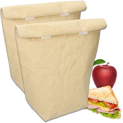 Carryking 2 bolsas isotérmicas American Lunch Bag reutilizables, 6,0 L, con cierre de velcro, bolsas de papel de estraza con aislamiento térmico para trabajo, escuela y picnic (juego de 2 unidades)