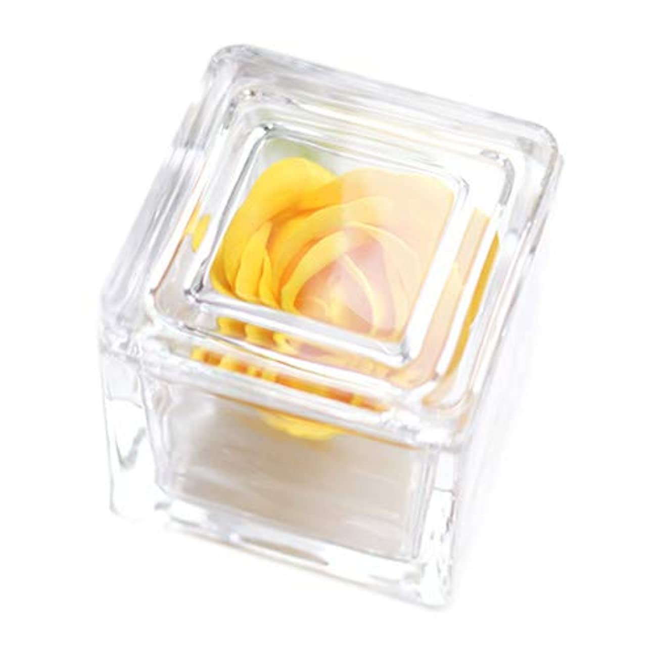 Dear Bouquet ソープフラワー ガラスキューブ Small/花 フラワーアレンジ 誕生日プレゼントや内祝いなどちょっとしたギフトに (イエロー)