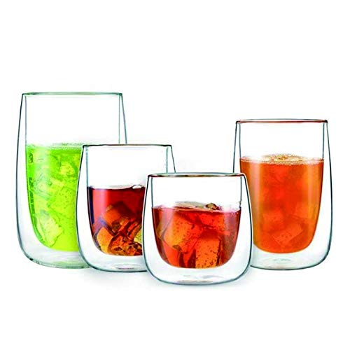 Taza de café de Vidrio de Doble Pared Champagne Whisky Copa de cóctel Cerveza Vasos de Vino Vidrios Tazas Transparentes Tumbler Tazas de Agua (Color : 380ml)