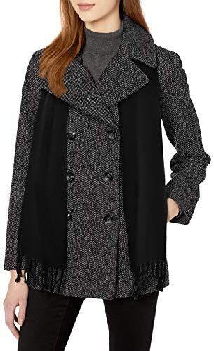 LONDON FOG Womens Double Breasted Peacoat with Scarf XL Charcoal