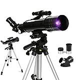 TNTY Telescopio Astronómico – 70/400 mm Telescopio refractor con ocular acromático (K6 mm y K25 mm) y trípode retráctil (40 – 104 cm), para observar la astronomía y el paisaje