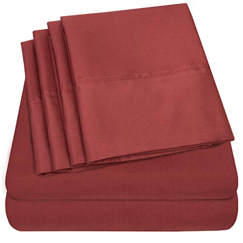 Sweet Home Collection Bed 6 Piece 1500 Thread Count Deep Pocket Sheet Set - 2 EXTRA PILLOW CASES, VALUE, Queen, Burgundy