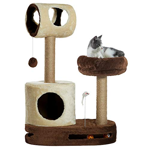 Todos Aman Arbre à chat avec sisal naturel Scratching Post Tower Sofa Cushion Condo and Playful Toys for Small Medium Cats Activities (Cream / Brown, S.M.201)