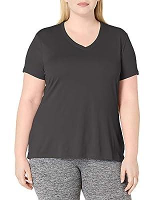 Just My Size Women's Plus-Size Cooldri s/V-Neck, Black, 2X