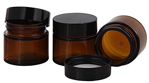 Braunglastiegel m. Kunststoff-Deckel, 30 ml Leerer Tiegel, Kosmetex Glasdose, 3× schwarz