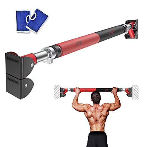 RHINOSPORT Barre de Traction pour Porte Barre de Fitness Fixation Murale Pull Up Bar Cadre de Porte 72–92cm Entraîneur pour Abdominaux, Dos et Triceps