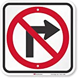SmartSign 'No Right Turn Sign | 12' x 12' 3M Engineer Grade Reflective Aluminum