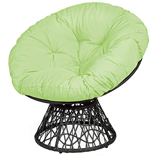Tangkula Papasan Chair Rattan Ergonomic Chair w/ 360-degree Swivel and Soft Cushion, Solid Structure & Stable Base, Ideal for Garden,...