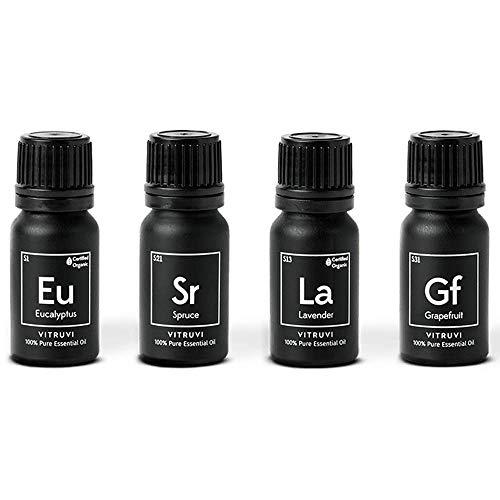 Vitruvi Essentials Kit, Essential Oil Starter Kit, 100% Pure Lavender, Eucalyptus, Grapefruit, Spruce, 4x 10ml (0.3 fl.oz) Bottles, 4 count