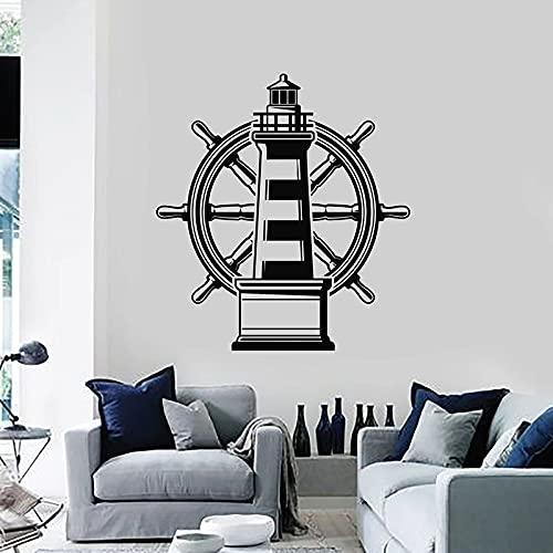 Faro Náutico Marina Playa Mar Volante Navegación Vinilo Etiqueta de la pared Calcomanía Dormitorio Sala de estar Oficina Estudio Club Decoración para el hogar Mural