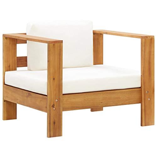 vidaXL Akazienholz Massiv Gartenstuhl mit Auflagen Sofa Sessel Holzstuhl Gartensessel Gartensofa Gartenmöbel Stuhl Einzelsofa Creme
