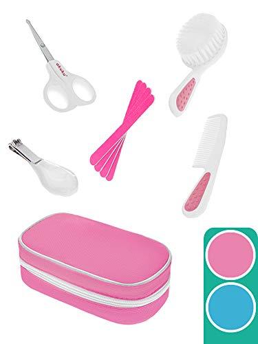 AKUKU Baby Pflegeset 5-teilig Mädchen | Babypflege-Set Erstausstattung für Neugeborene rosa ab 0 Monate | Haare Milchschorf