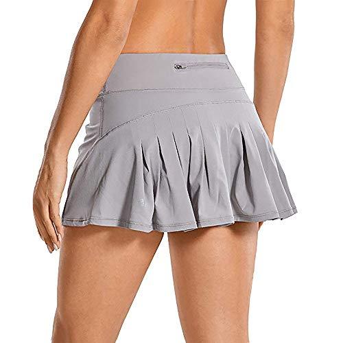 Raroauf Women's Tennis Skort Active Pleated Skirts with Pocket for Running Golf Grey XL-US 8