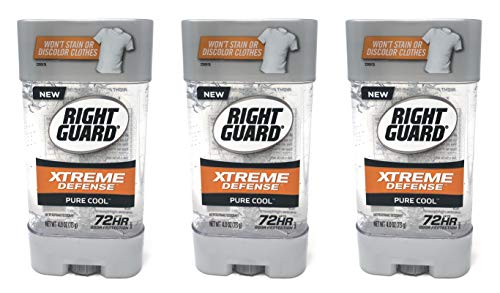 Right Guard Gel Antiperspirant/Deodorant Xtreme Defense Pure Cool, 4 Ounces (Pack of 3)