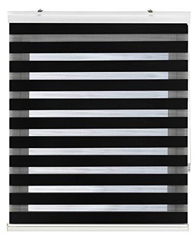 Blindecor Vela - Estor enrollable de doble capa, Noche y Día, Negro, 140 x 180 cm, ancho x largo