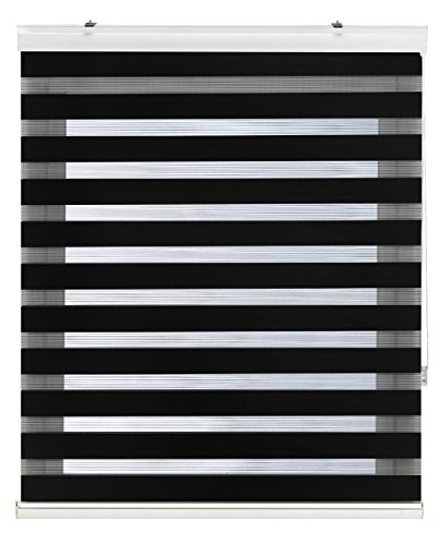 Blindecor Lira Luxury Estor Enrollable de Doble Capa, Noche y Día, Poliéster, Negro, 140 x 180