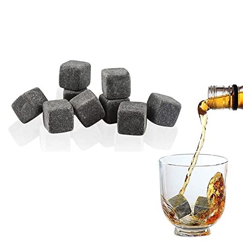 Rpanle Pierres à Whisky 9 Pièces, Glaçons Réutilisables, Granit Pierres à Whisky, Pierres Froides, Sac en Velours, Pierres de Refroidissement en Granit pour Spiritueux, Vins et Autres Boissons