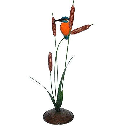 Vivid Arts XMW-SC19-D Eisvogel auf Binsen (aus Metall), Kunstharz Gartendeko