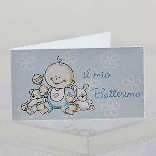 Publilancio SRL 100 PZ Bigliettini bigliettino bomboniera Il Mio Battesimo Bambino Celeste