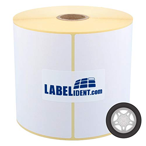Labelident Thermotransfer-Etiketten mit Spezialklebstoff - 100 x 150 mm - 500 Reifenetiketten extrem haftend auf 1 Zoll Rollenkern für Desktopdrucker, Papier, seidenmatt, Trägerperfo.