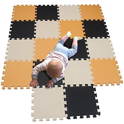 MQIAOHAM baby speelmatten voor vloer speelmat eva puzzels 3d legpuzzels kinderen peuter speelmatten en sportscholen workout mat schuimtegels puzzel speelt zacht Oranje Zwart Beige 102104110
