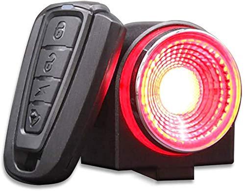Luz Bicicleta Recargable USB 800 mAh,Luz Inteligente para Bicicleta,Luz Trasera de Bicicleta,Control Remoto de Alarma Ultra Brillante de 115db,IP65 Impermeable,con Alarma Antirrobo,Luces LED(A)