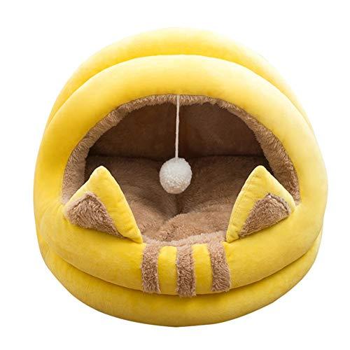 Cama de gato AOXING para gatos de interior, lavable a máquina, cama redonda para gatos o perros pequeños, parte inferior antideslizante y resistente al agua (M, YE)