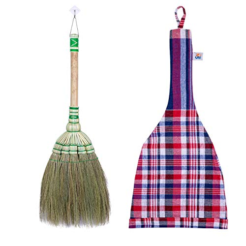 24-inch Tall of Thai Natural Grass Broom Asian Broom for RV's Camping Tent & Training Children Cleaning
